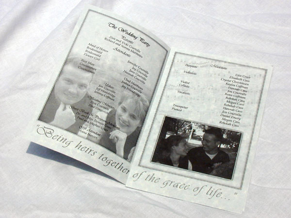 examples wedding programs